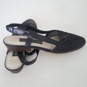 1980's Woven Leather Sling Backs